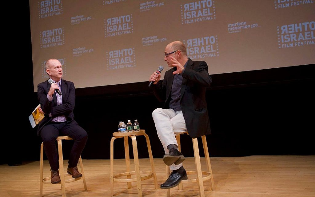 The opening night at the Other Israel Festival, with director of film programming Isaac Zablocki and Tzahi Grad at the Marlene Meyerson JCC Manhattan, November 1, 2018. (Courtesy)
