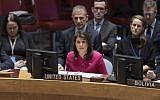 US Ambassador to the UN Nikki Haley speaks at a UN Security Council Meeting on the Middle East on November 19, 2018. (UN/Rick Bajornas)