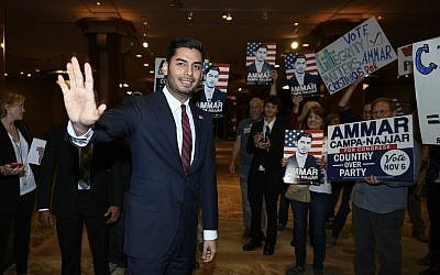 Democratic congressional candidate Ammar Campa-Najjar talks to supporters in San Diego, California, November 6, 2018. (Denis Poroy/AP)