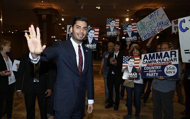 Democratic congressional candidate Ammar Campa-Najjar talks to supporters in San Diego, California, November 6, 2018. (Denis Poroy/AP)