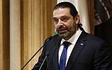 Lebanese Prime Minister Saad Hariri, speaks during a press conference, in Beirut, Lebanon, November 13, 2018. (AP Photo/Hussein Malla)