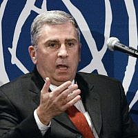 In this Dec. 10, 2007 file photo, retired Army Gen. John Abizaid, speaks in San Francisco. Abizaid is President Donald Trump's pick to be US ambassador to Saudi Arabia.  (AP Photo/Ben Margot, File)