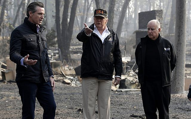 President rakes over causes of fire in California