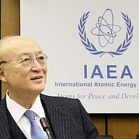 Director General of the International Atomic Energy Agency, IAEA, Yukiya Amano of Japan, waits for the start of the IAEA board of governors meeting at the International Center in Vienna, Austria, November 22, 2018. (AP Photo/Ronald Zak)