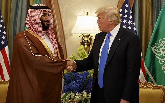 In this May 20, 2017, file photo, US President Donald Trump shakes hands with Saudi Crown Prince Mohammed bin Salman, in Riyadh, Saudi Arabia. (AP Photo/Evan Vucci, File)