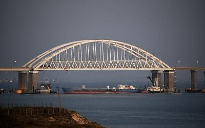 The Kerch bridge is seen blocked for ships entrance, near Kerch, Crimea, on Nov. 25, 2018. (AP Photo)