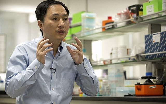 In this Oct. 10, 2018 photo, He Jiankui speaks during an interview at a laboratory in Shenzhen in southern China's Guangdong province. (AP/Mark Schiefelbein)
