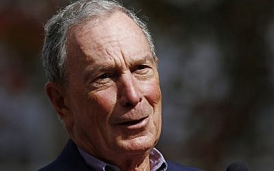 In this Nov. 29, 2018 file photo, former mayor of New York City, Michael Bloomberg, speaks to the media in Jackson, Miss. Bloomberg's philanthropy has announced a $50 million donation to help fight the nation's opioid epidemic. (AP Photo/Rogelio V. Solis)
