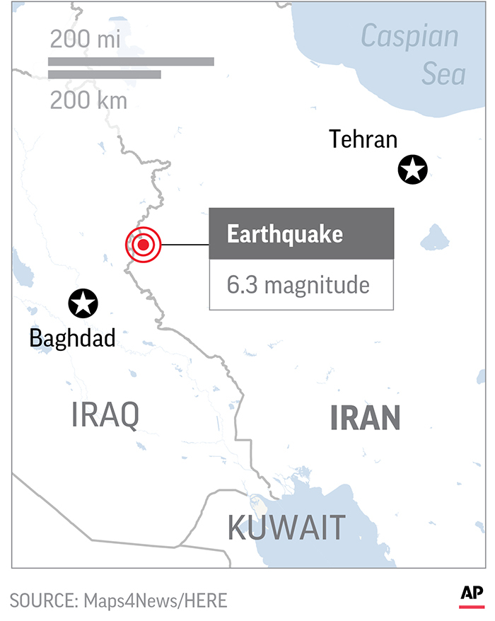 Magnitude 6.3 quake strikes western Iran, over 600 injured