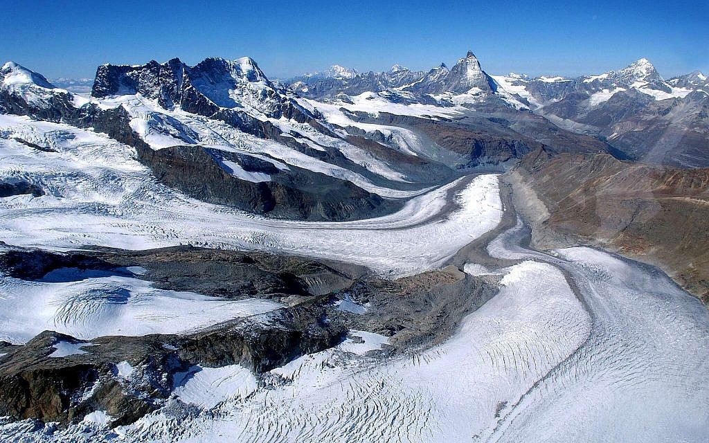 Illustrative: A September 15, 2003 file image of the Gorner Glacier and the Matterhorn, second peak from right, on the Swiss-Italian border. (AP Photo/Keystone, Olivier Maire. File)