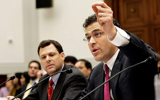 Elliot Schrage, right, testifies before a joint hearing in Congress on February 15, 2006, in Washington. (AP/Manuel Balce Ceneta)