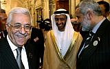 UAE Foreign Minister Abdullah Bin Zayed Al-Nahyan, center, shares a light moment with Palestinian Authority leader Mahmoud Abbas, left, and Hamas leader Ismail Haniyeh after the opening session of the Arab Summit in Riyadh, March 28, 2007. (AP Photo/Awad Awad, Pool)