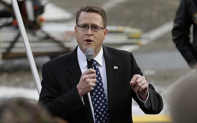 Washington State representative Matt Shea speaks at a gun-rights rally, January 13, 2017. (AP Photo/Ted S. Warren)