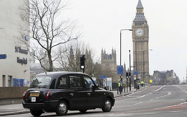 Illustrative: A black cab drives past London's Westminster Bridge, March 23, 2017 (AP Photo/Tim Ireland)