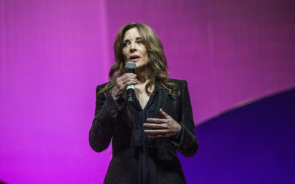 Marianne Williamson seen on day three of Summit LA17 in Downtown Los Angeles's Historic Broadway Theater District on Sunday, November 5, 2017, in Los Angeles. (Photo by Amy Harris/Invision/AP)