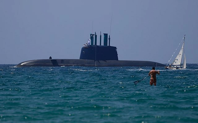 An Israeli submarine sails during Independence Day celebrations marking 70 years since the founding of the state in 1948, in Tel Aviv, Israel, April 19, 2018. (AP/Ariel Schalit)