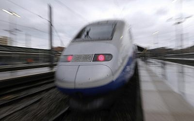 Illustrative: A TGV high-speed train is pictured ar the Saint-Charles train station, in Marseille, southern France, on May 14, 2018. (AP Photo/Claude Paris)