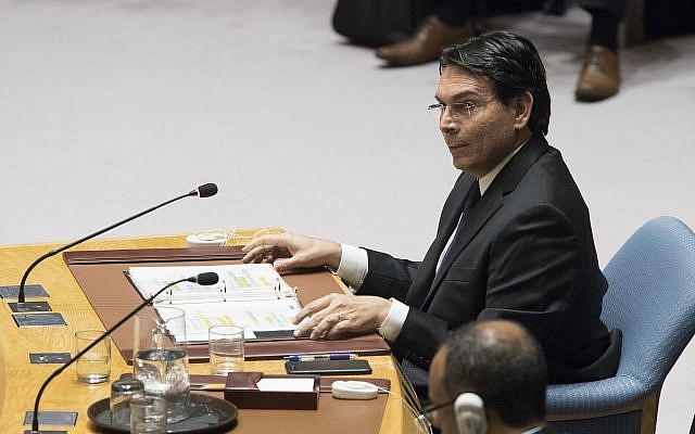 Israel's Ambassador to the United Nations Danny Danon speaks during a Security Council meeting on the situation between the Israelis and the Palestinians, Friday, June 1, 2018 at United Nations headquarters. (AP Photo/Mary Altaffer)