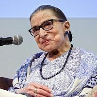 US Supreme Court Justice Ruth Bader Ginsburg speaks after the screening of 'RBG,' the documentary about her, in Jerusalem, Thursday, July 5, 2018.  (AP Photo/Caron Creighton)