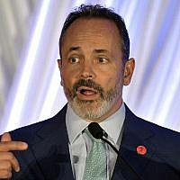 Kentucky Governor Matt Bevin speaks to the audience during the Republican Party's Lincoln Dinner on August 25, 2018, in Lexington, Kentucky. (AP Photo/Timothy D. Easley)