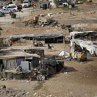 The West Bank Bedouin community of Khan al-Ahmar, Sunday, October 21, 2018. (AP/Majdi Mohammed)