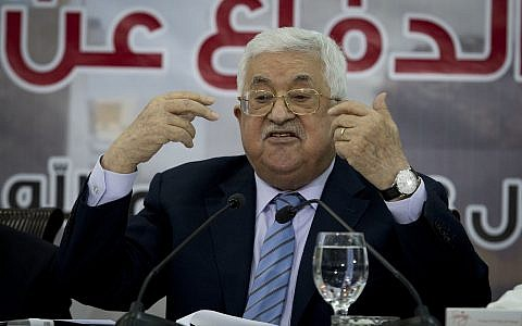 Palestinian President Mahmoud Abbas speaks during a meeting of the Central Council of the Palestine Liberation Organization in the West Bank city of Ramallah, Sunday, Oct. 28, 2018. (AP/Majdi Mohammed)