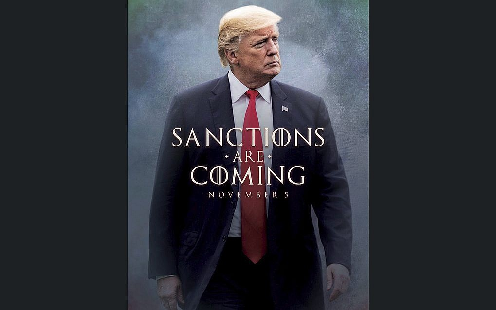 This image taken from the Twitter account of President Donald J. Trump @realDonaldTrump shows what looks like a movie-style poster that takes creative inspiration from the TV series 'Game of Thrones&#039 to announce the re-imposition of sanctions