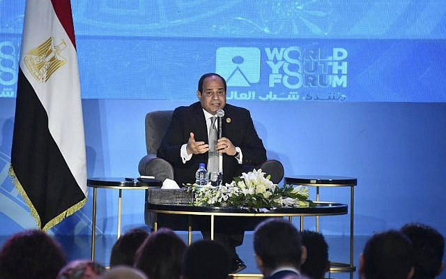 Egyptian President Abdel-Fattah el-Sissi, speaks during a youth conference in Sharm El Sheikh, Egypt, November 5, 2018. (MENA via AP)