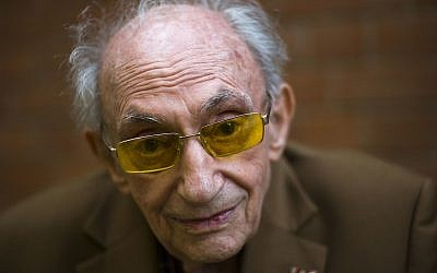 Walter Frankenstein, born in 1924, witness to the November 9, 1938 terror against Jews in Berlin and one of the few survivors of Auerbach'sches Waisenhaus orphanage, poses for a photo at the orphanage memorial site for an interview with the Associated Press in Berlin, November 5, 2018. (Markus Schreiber/AP)
