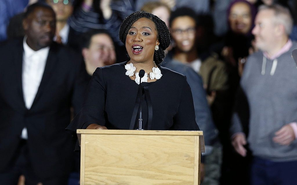 Democrat Ayanna Pressley gives her victory speech at an election night party after being elected to represent Massachusetts' 7th congressional district, on November 6, 2018, in Boston. (AP Photo/Michael Dwyer)