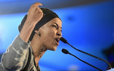 Illustrative: Democrat Ilhan Omar speaks after winning in Minnesota's 5th Congressional District race during the election night event held by the Democratic Party on November 6, 2018, in St. Paul, Minnesota. (AP Photo/Hannah Foslien)