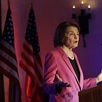 US Sen. Dianne Feinstein speaks at an election night event in San Francisco, Tuesday, Nov. 6, 2018. (AP Photo/Jeff Chiu)