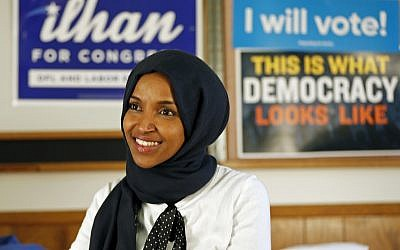 Democrat Ilhan Omar on November 7, 2018, in Minneapolis after winning Minnesota's 5th Congressional District race in the 2018 US midterm elections. (AP Photo/Jim Mone)