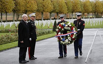 White House Chief of Staff John Kelly, left, and Chairman of the Joint Chiefs of Staff, Marine Gen. Joseph Dunford attend a ceremony at the Aisne Marne American Cemetery near the Belleau Wood battleground, in Belleau, France, Saturday, Nov. 10, 2018. (AP/Francois Mori)