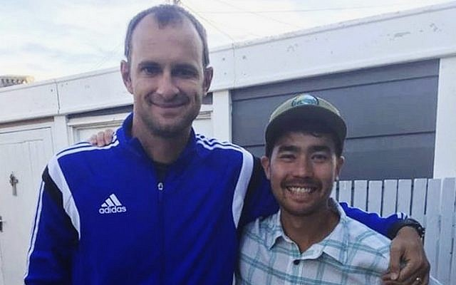 American adventurer John Allen Chau, right, stands for a photograph with Founder of Ubuntu Football Academy Casey Prince, 39, in Cape Town, South Africa, in October 2018, days before he left for in a remote Indian island of North Sentinel Island, where he was killed. (AP Photo/Sarah Prince)