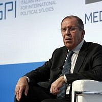 Russian Foreign Minister Sergey Lavrov attends the Mediterranean dialogues conference in Rome, Friday, Nov. 23, 2018. (AP Photo/Alessandra Tarantino)
