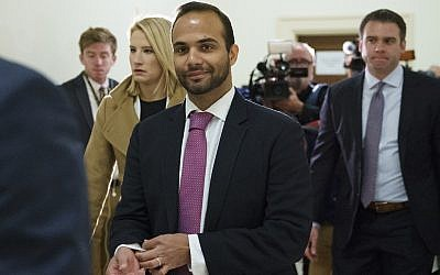George Papadopoulos, the former Trump campaign adviser who triggered the Russia investigation, arrives for his first appearance before congressional investigators, on Capitol Hill, in Washington, DC, October 25, 2018. (AP Photo/Carolyn Kaster)