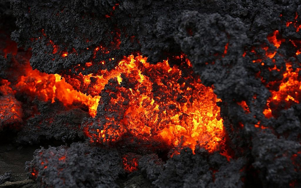 A close up of lava from an eruption on Holuhraun, northwest of the Dyngjujoekull glacier in Iceland, Monday, Sept. 1, 2014. (AP Photo/Eggert Johannesson)