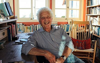 Robert Alter seen in his home office. (David A.M. Wilensky/via JTA)