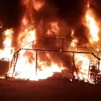 A greenhouse that was set on fire by an infiltrator from Gaza on November 9, 2018 (Screencapture)