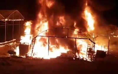 A greenhouse that was set on fire by an infiltrator from Gaza on November 9, 2018. (screen capture)