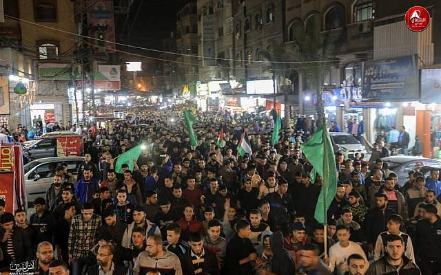 "Hamas members in a parade in Jabalya in Gaza ""in support of the resistance,"" following a ceasefire with Israel after two days of violence, November 13, 2018. (Twitter screen capture)"