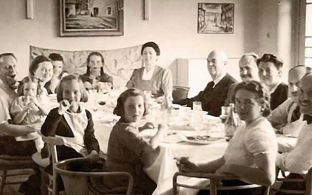 A family of Jewish immigrants at a meal in their new Ecuadorian home in the 1940s. (Courtesy Eva Zelig)