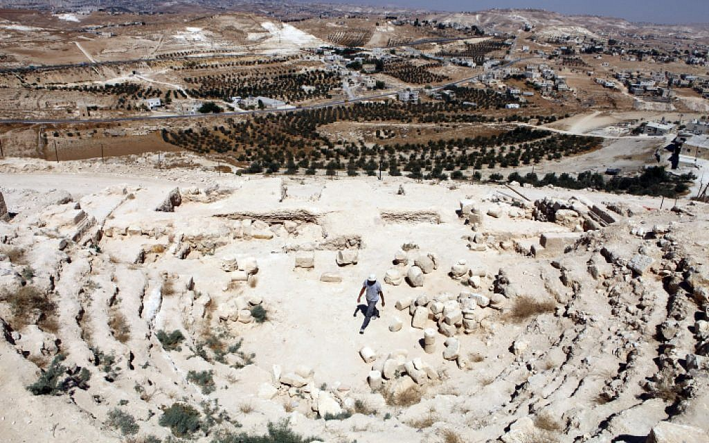 A 2010 view of the mountain fortress of Herodium in the Gush Etzion region, outside of Jerusalem. (Abir Sultan/FLASH90)
