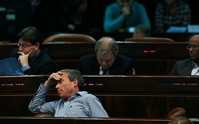Yesh Atid MK Elazar Stern sits in the Knesset during a meeting of the Knesset in Jerusalem on January 14, 2014. (Yonatan Sindel/Flash90)
