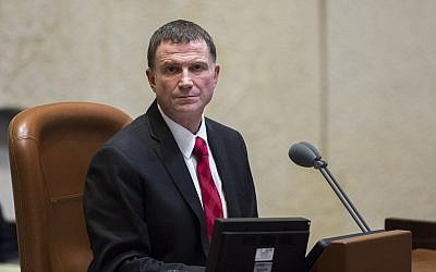Knesset Speaker Yuli Edelstein seen during a memorial ceremony marking 19 years to the assassination of prime minister Yitzhak Rabin, in the Knesset in Jerusalem, November 5, 2014 (Yonatan Sindel/Flash90)