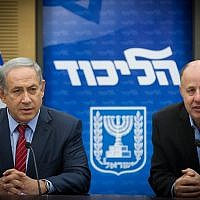Prime Minister Benjamin Netanyahu (left) and Tzachi Hanegbi at a Likud party faction meeting at the Knesset, on February 22, 2016. (Miriam Alsterl/Flash90)