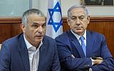 Prime Minister Benjamin Netanyahu (right) and Finance Minister Moshe Kahlon at the weekly cabinet meeting in Jerusalem on March 13, 2016. (Marc Israel Sellem/Pool)