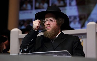 Rabbi Sholom Ber Sorotzkin speaks during a conference of the Ateret Shlomo Torah network in Holon, Israel on October 26, 2016. (Yaakov Naumi/Flash90 )
