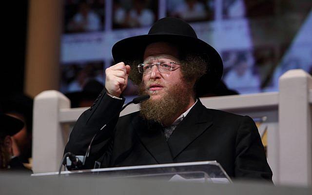 Rabbi Sholom Ber Sorotzkin speaks during a conference of the Ateret Shlomo Torah network in Holon, Israel on October 26, 2016. (Yaakov Naumi/Flash90 )